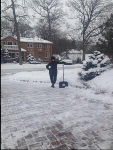Sarah Shoveling Snow
